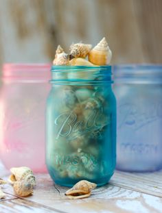 Sea Glass Mason Jars