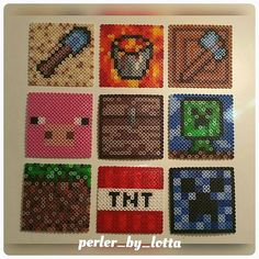Minecraft coasters hama beads (10x10cm) by perler_by_lotta