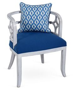 One Kings Lane - Seaside Casual - Chelsea Chair, Blue