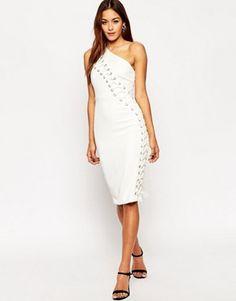 ASOS Lace Up Contour One Shoulder Body-Conscious Midi Dress $106.00 ASOS Lace Up Contour One Shoulder Body-Conscious Midi Dress $106.00