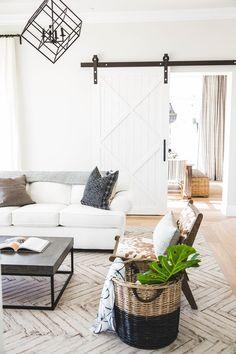 living room featuring barn sliding doors