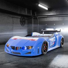 BMW Childrens Car Bed In Blue With LED Lighting And Spoiler