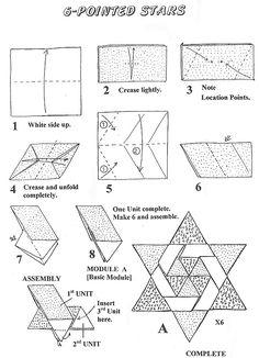 Francis Ow's Origami - diagrams - 6 Pointed Stars Francis Ow's Origami – diagrams – 6 Pointed Stars Origami And Kirigami, Paper Crafts Origami, Origami Stars, Origami Tutorial, Origami Easy, Christmas Crafts To Make, Christmas Origami, Arte Judaica, Geometric Shapes Art