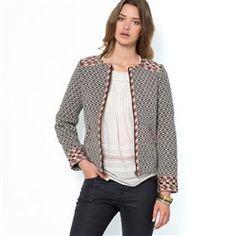 Veste zippée jacquard bicolore pur coton