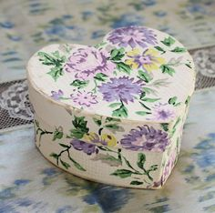 Heart Shaped Box Covered in Vintage Wallpaper~Gift Box, Display