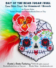 Brooke's Books Stitch-a-Little Senorita Sugar Skull Brooch / Ornament Cross Stitch INSTANT DOWNLOAD CHART by Brooke Nolan https://www.etsy.com/listing/249521905/brookes-books-stitch-a-little-senorita?ref=shop_home_feat_3 #sugarskulls #crossstitchsugarskulls #dayofthedead #halloweencrossstitch #halloweenstitching #crossstitch #perforatedpaper