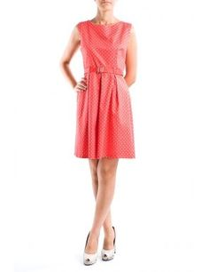 Rochie rosie cu buline si fusta plisata