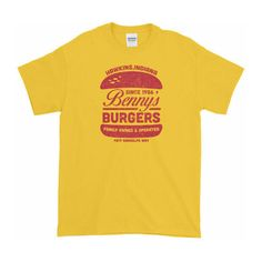 Stranger Things Bennys Burgers Short sleeve t-shirt (1.345 RUB) ❤ liked on Polyvore featuring tops, t-shirts, pre shrunk t shirts, jersey top, short sleeve jersey, yellow t shirt and cotton jersey t shirt