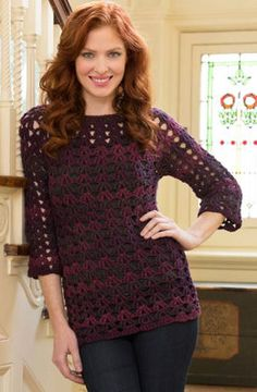 Mystique Tunic in Red Heart Boutique Midnight - LW4161 - Downloadable PDF