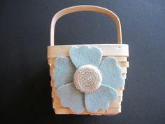 Flower Girl Basket  Wedding Sea Foam Green by ArtisanFeltStudio on Etsy