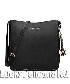 MICHAEL Michael Kors Jet Set Travel Large Saffiano Messenger Bag Black NWT #MichaelKors #MessengerCrossBody