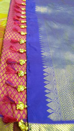 Saree Kuchu New Designs, Saree Tassels Designs, Saree Blouse Neck Designs, Blouse Designs, Hand Embroidery Design Patterns, Saree Wearing, Sari Dress, Indian Silk Sarees, Prefixes