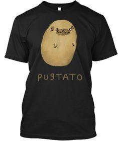 Pugtato Potato T Shirt Black T-Shirt Front