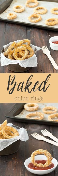 Super tasty, crispy baked onion rings made with simple ingredients, very easy to whip up and an healthier alternative to fried onion rings. Great as a side dish, appetizer or snack