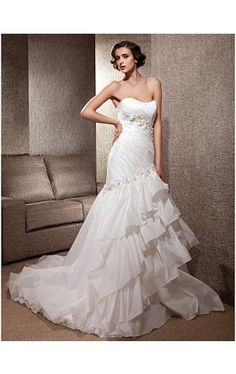 Luxury Taffeta Drape Down With Tiered Skirt Gown