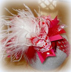 Valentines Day Over the Top Ostrich Feather Hair Bow Boutique Pageant Party Hairbow White Red Large Big Feathers Matching Headband Included. $15.95, via Etsy.