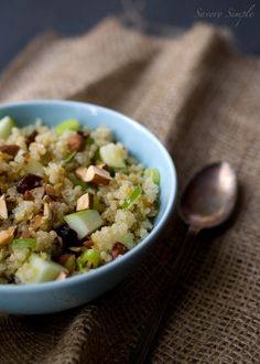 Quinoa, Apple & Almond Salad with Honey Lemon Mint Vinaigrette ~ @SavorySimple #Recipe