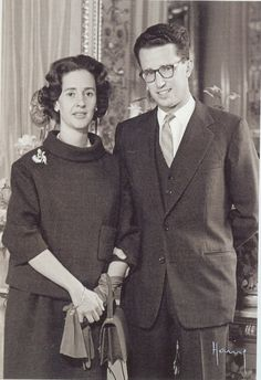 King Baudouin with his fiancee, the future Queen Fabiola.  Fabiola was not a beauty, but had a passing resemblance to the lovely Queen Astrid, Baudouin's mother.  How Freudian is that?