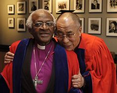 The two friends and Nobel Peace Prize Laureates Desmond Tutu & the Dalai Lama reunite for a UN - Free Tibet event.  We've been lucky enough to hear the wisdom of each in separate, in-person, events.  Wish that each person viewing this would be so blessed some day. :>)