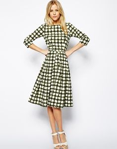 Image 4 ofASOS Skater Dress In Check With 3/4 Sleeve