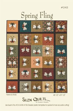 "Spring Fling 48 1/2"" x 57 1/2"" Quilt Pattern by SuznQuilts on Etsy https://www.etsy.com/listing/485502245/spring-fling-48-12-x-57-12-quilt-pattern"