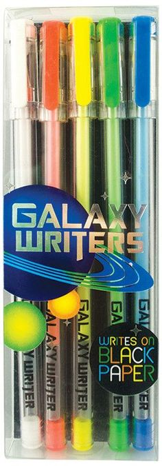 If you're looking for gel pens from another world look no further than Galaxy Writers Gel Pens. This fun gel pen set comes with 5 pens each with fun interstellar colors including white, orange, yellow