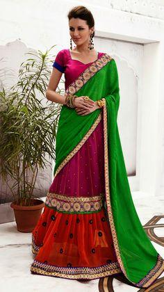 USD 79.56 Green and Pink Chiffon Wedding Lehenga Saree  33681