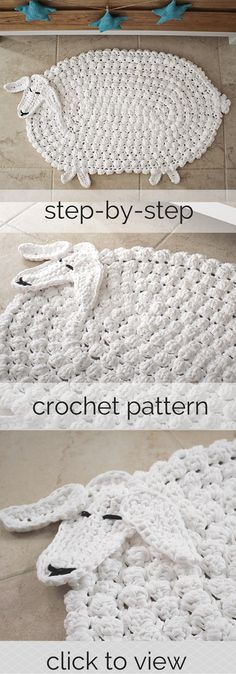 Woodland Nursery Crochet Lamb Rug Pattern for a neutral nursery! Pattern in US terms, uses t-shirt yarn, step-by-step