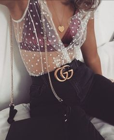 $10 - $150 Cute Cool Spring Summer Party Chick Pink Purple Maroon Velvet Triangle Bra White Sheer See-Through Mesh T-Shirt With White Star Print Gucci Gold Black Leather Belt And High Waisted Black Denim Jeans Tumblr