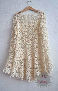 New crochet sweater lace inspiration Ideas Gilet Crochet, Crochet Cardigan, Crochet Lace, Crochet Stitches, Crochet Patterns, Crochet Tops, Lace Sweater, Irish Lace, Crochet Fashion