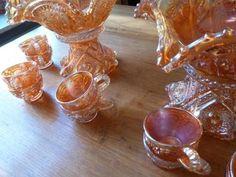 ≥ Unieke dubbele bowl- of punchstel Marigold van Imperial Glas - Antiek | Glas en Kristal - Marktplaats.nl