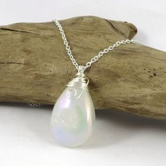 Titanium Agate Druzy Necklace White AB by HCJewelrybyRose on Etsy
