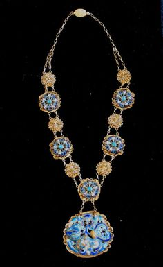 Silver Vermeil Chinese Qing Enamel Necklace Filigree | Pre 1910.
