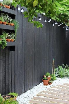 Modern garden with black fencing and white pebbles | Growing Spaces #gardendesign Backyard Fences, Front Yard Landscaping, Landscaping Ideas, Backyard Privacy, Outdoor Landscaping, Modern Landscaping, Cheap Privacy Fence, Acreage Landscaping, Yard Fencing