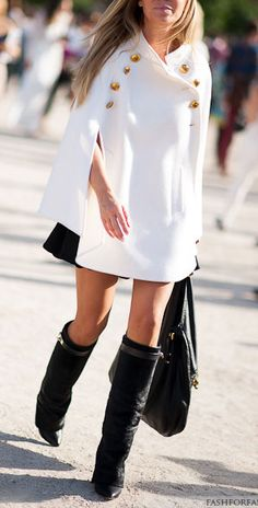 White coat, black boots