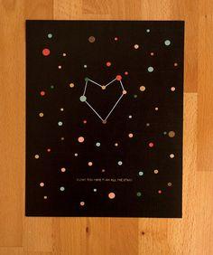 """i love you more than all the stars""   Glow in the dark Star Print Fine art Print. $15.00, via Etsy."