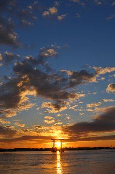 美しい夕焼け空と浜名湖。