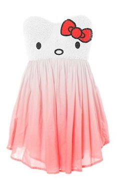 Hello kitty strapless sweetheart tube flowy cute dress kawaii. I NEED THIS!! CUTEST DRESS EVER! <3<3<3