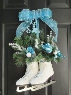 Christmas Wreath,Hanging Ice Skates,Blue and Silver Christmas Wreath,Christmas Ornament Wreath,Christmas Glitter Door Decor,Winter Pine