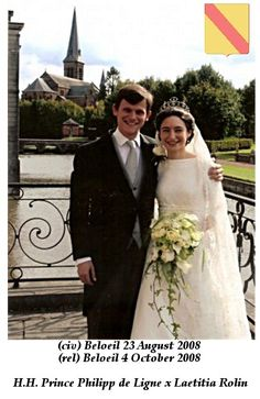 Prince Philippe de Ligne wed Laetitia Rolin on 4 October 2008, with the bride wearing another possible tiara from her husband's Family