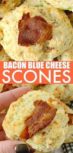 These Bacon Blue Cheese Scones are tender, tasty and easy to make. This recipe is an entirely hands-off process, using a stand mixer and cookie scoop. Recipes Using Pork Chops, Pork Recipes, Easy Thanksgiving Recipes, Thanksgiving Table, Fall Recipes, Slow Cooked Pulled Pork, Breakfast Cake, Breakfast Pastries