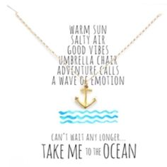 Gold Anchor Take Me To The Ocean Necklace