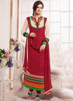Red Thread Work Booti Work Lace Border Georgette Party Wear Churidar Salwar Suit #Anarkali #Churidar #Pakistani #Suit #Salwar #Bollywood http://www.angelnx.com/Salwar-Kameez