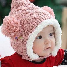 ボンボン付き ニット帽 ベビー キッズ 耳あて 防寒 6か月〜4才 ピンク(帽子)