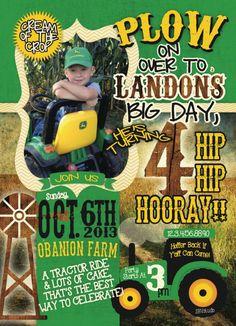Boy Tractor Birthday Invitation Custom Tractor Birthday Party - John deere 2nd birthday party invitations