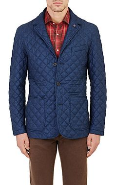 Isaia Quilted Twill Jacket - Utility/Field - Barneys.com