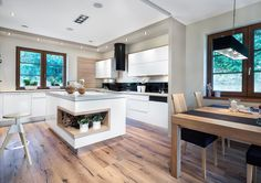 Studio Vigo Olkusz KUCHNIA Z WYSPĄ Breakfast Nook, White Cabinets, Kitchen Interior, Home Kitchens, Kitchen Dining, Living Room, Modern, Decorating, Studio