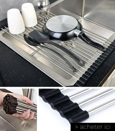 Dish Drying Rack Walmart Magnificent Wide Folding Drain Sink Rack  Stainless Colander Drying Tray Sink Inspiration