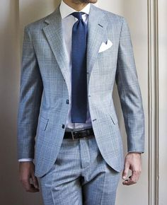 A light blue plaid suit and a white dress shirt are a nice combo that will get you a ton of attention. Dress Shirt And Tie, Suit And Tie, Der Gentleman, Gentleman Style, Mode Masculine, Suit Fashion, Mens Fashion, Fashion Menswear, Style Fashion
