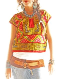 Frida vintage Mexican blouse Huipil Oaxaca intricate colorful embroidery.